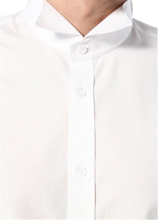 Beyaz Ata Yaka Düğmeli Poplin Gömlek