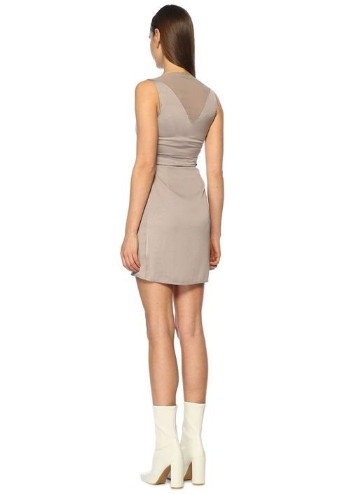 Anika Gümüş V Yaka Mini Elbise