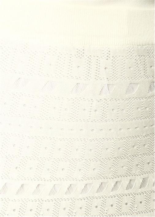 Beyaz Delikli Midi Triko Etek