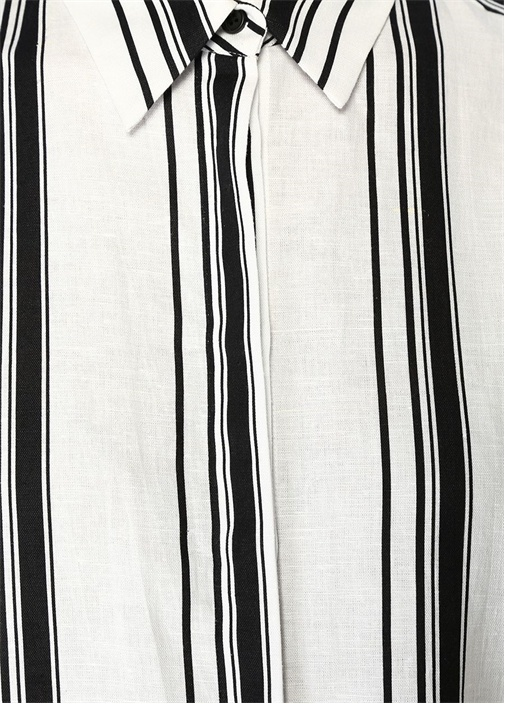 Siyah Beyaz Çizgili Mini Keten Gömlek Elbise