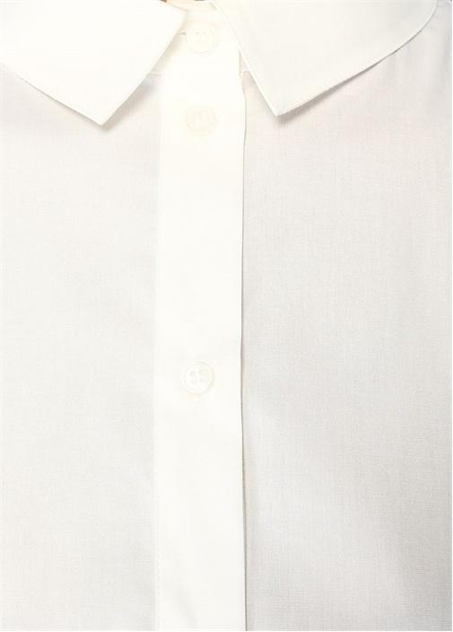Beyaz Kuşaklı Mini Poplin Elbise