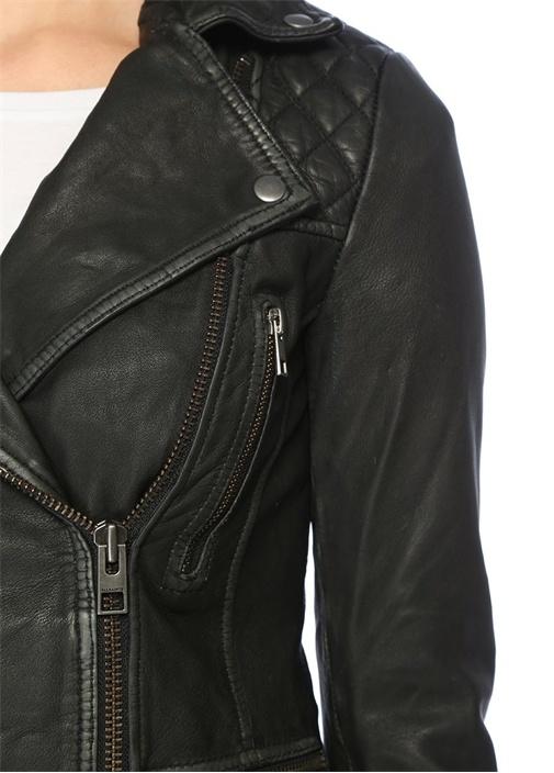 Cargo Siyah Gri Deri Ceket