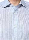 Mavi Beyaz Keten Gömlek