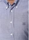 Mavi Düğmeli Yaka Çizgili Gömlek