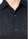 Siyah Polo Yaka Düğmeli Keten Gömlek