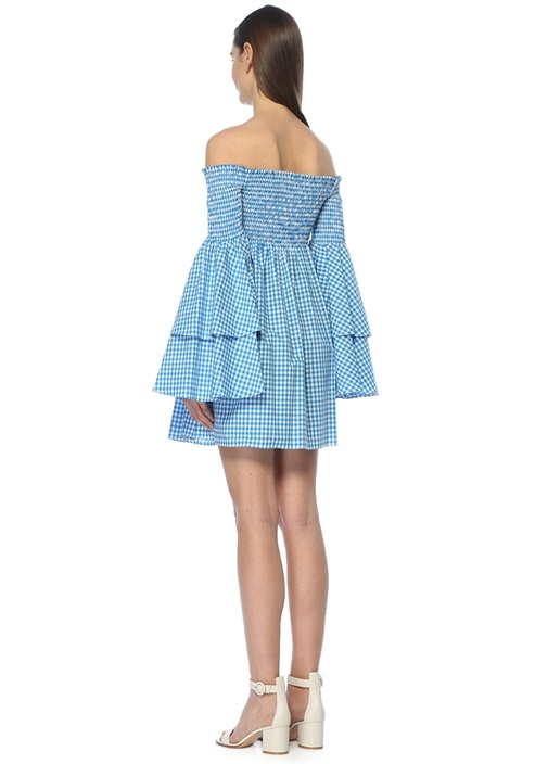 Appolonia Turkuaz Kolları Volanlı Mini Elbise
