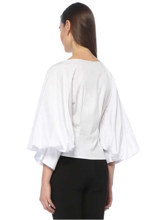 Beyaz Balon Kol V Yaka Bluz
