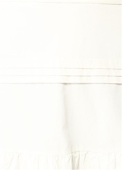 Beyaz Yüksek Bel Fırfırlı Pileli Midi Etek