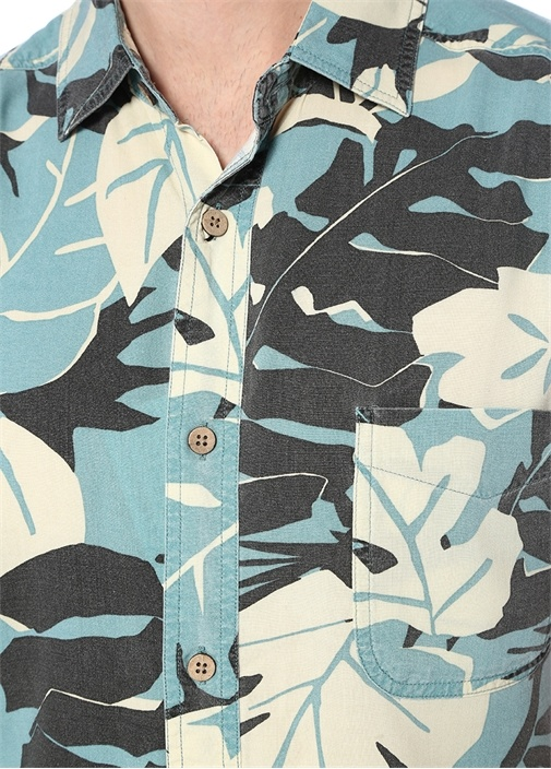 Leaf Mavi Polo Yaka Çiçek Desenli Gömlek