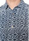 Mavi Polo Yaka Düğme Etnik Desenli Gömlek