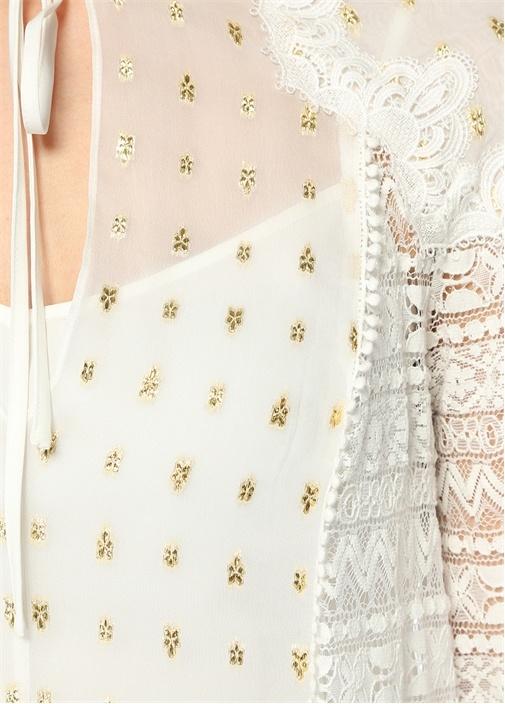 Wondering Beyaz Dantelli Gold Baskılı Bluz