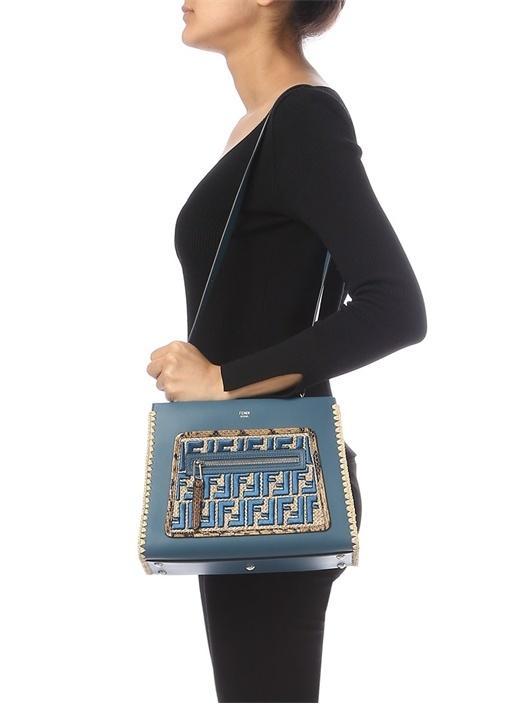 Runaway Mavi Logo Nakışlı Kadın Deri Omuz Çantası