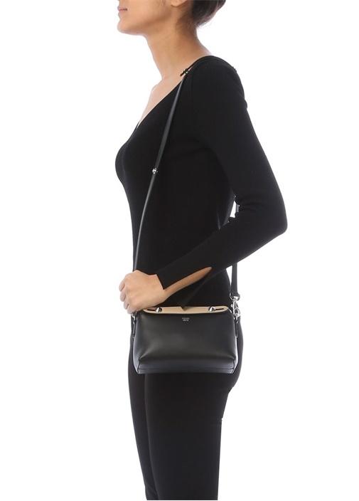 Siyah Krem Kadın Deri Çanta