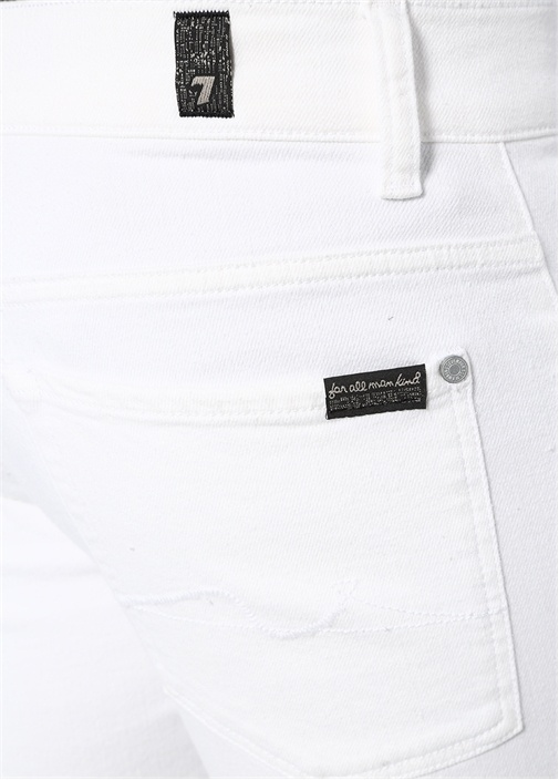 Beyaz Dar Paça Jean Pantolon