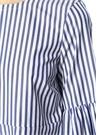 Mavi Beyaz Çizgili Çan Kollu Mini Elbise