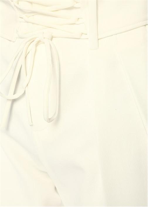 Lamezeta Beyaz Yüksek Bel Bağcıklı CropPantolon