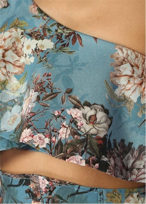 Mavi Çiçek Desenli Tek Kollu Bluz