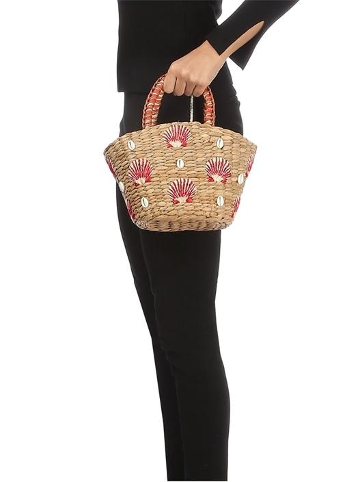 Shell La Bej İşlemeli Kadın Hasır El Çantası