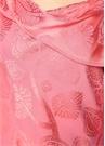 Pembe Çiçek Jakarlı Asimetrik Yaka Saten Bluz