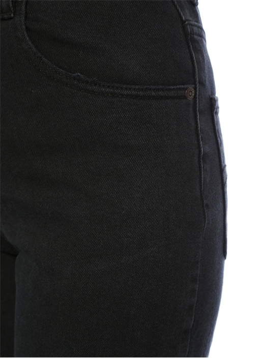 Siyah Yüksek Bel Boru Paça Jean Pantolon