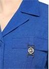 Mavi Apaç Yaka Dokulu Ceket