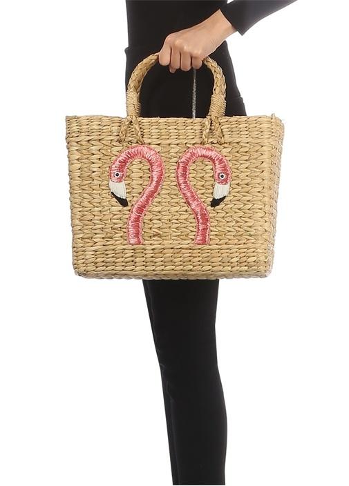 Flamingo Nakışlı Medium Kadın Hasır Çanta
