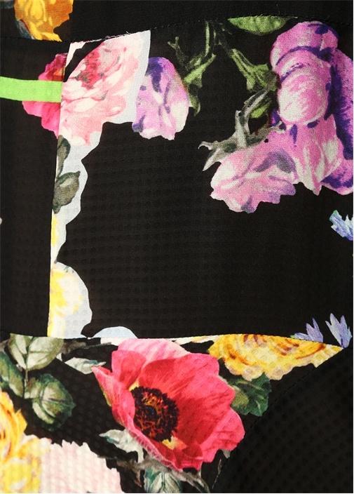 Nora Siyah Çiçekli Asimetrik Midi İpek Elbise