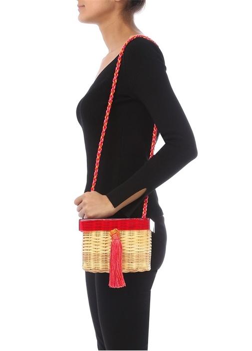 Bej Kırmızı Püsküllü Kadın Hasır Çanta