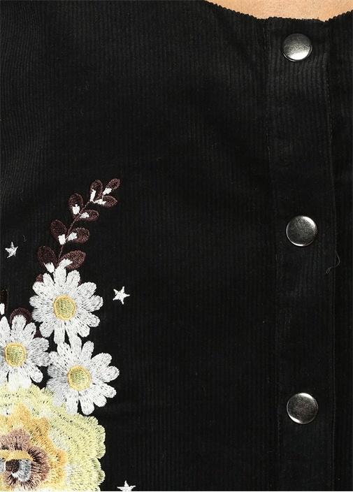 Siyah Çiçek Nakışlı Kadife Mini Elbise