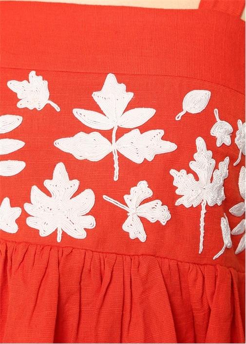 Lyla Turuncu Yaprak İşlemeli Crop Bluz