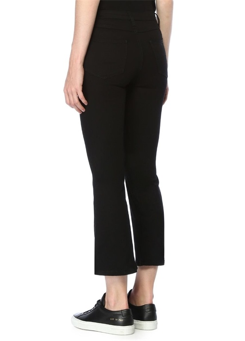 Siyah Cropped Flare Jean Pantolon