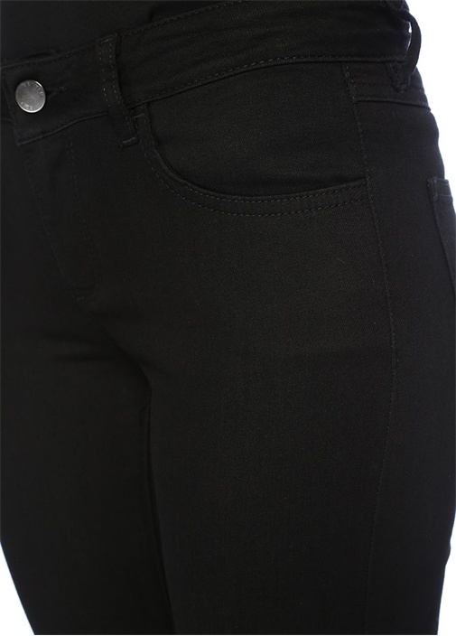 Siyah Normal Bel Paçası Kuşgözlü Jean Pantolon