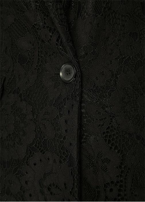 Siyah Kelebek Yaka Tek Düğmeli DantelliBlazer