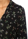Siyah Kelebek Yaka Çiçekli Kuşaklı MidiElbise