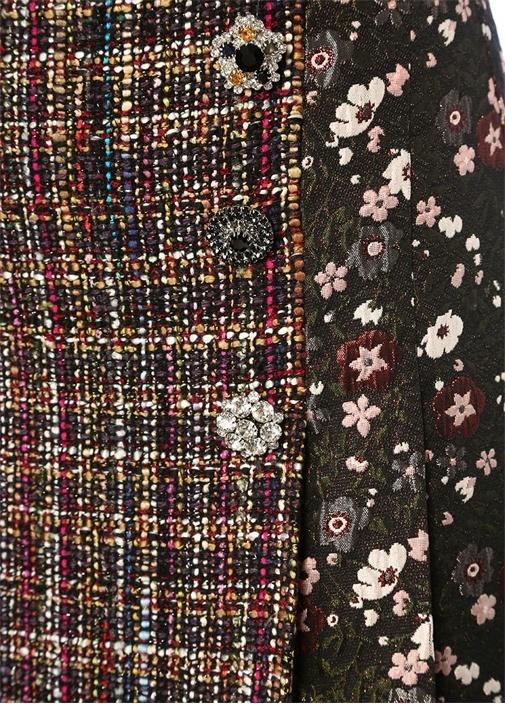 Siyah Brokar Desenli Dokulu Midi Tweed Etek