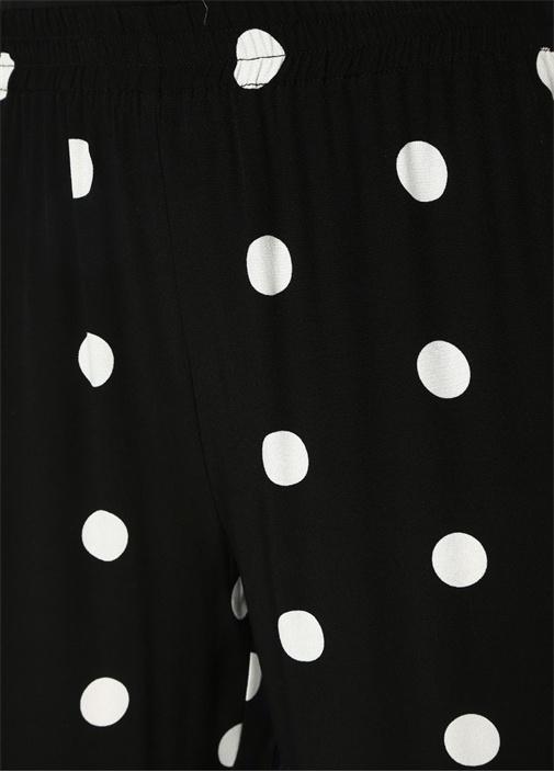 Siyah Puanlı Yüksek Bel Bol Paça Pantolon