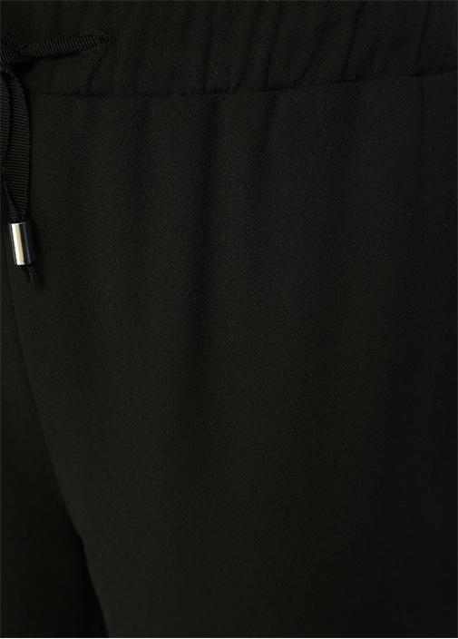 Siyah Beli Bağcıklı Zincir Şeritli KrepPantolon
