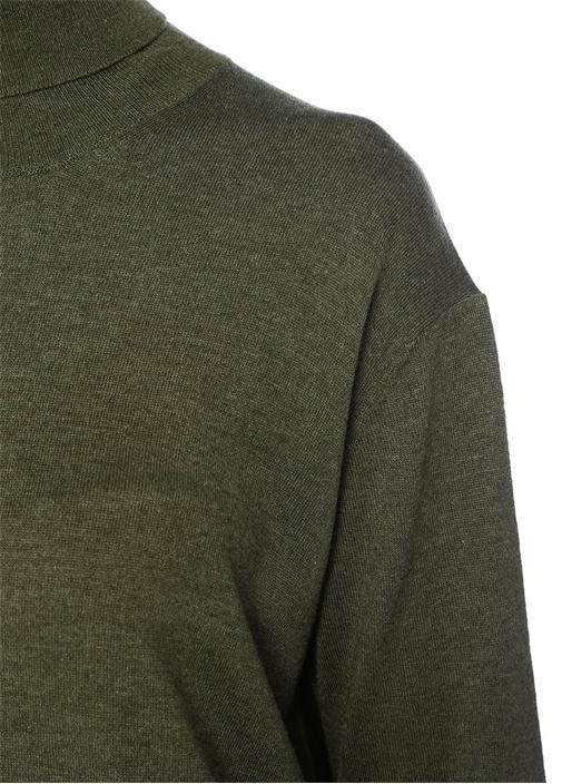 Haki Siyah Balıkçı Yaka Dantelli Mini Triko Elbise