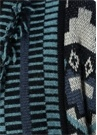 Mavi Püsküllü Geometrik Jakarlı Uzun Hırka
