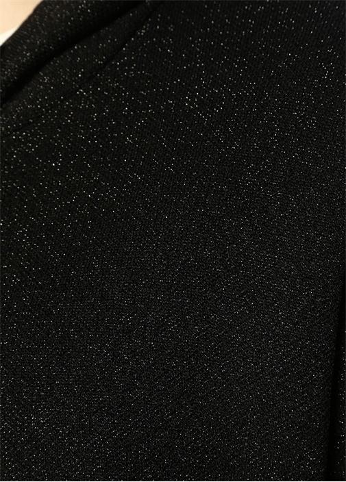 Siyah Kapüşonlu Simli Hırka
