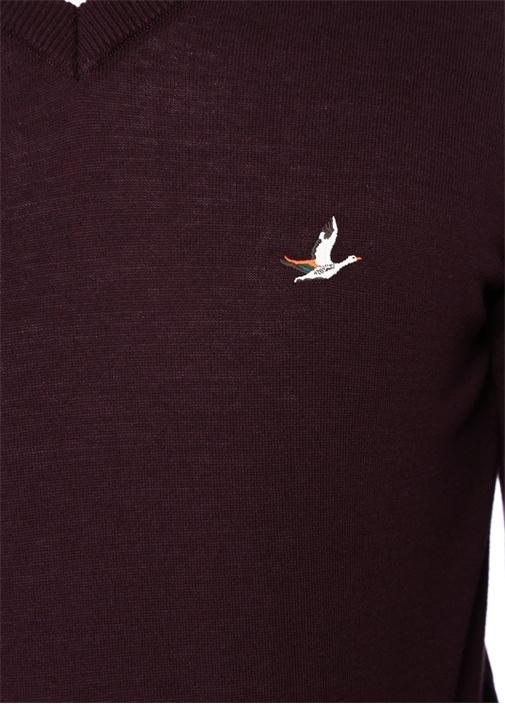 Bordo V Yaka Logo Jakarlı Kazak