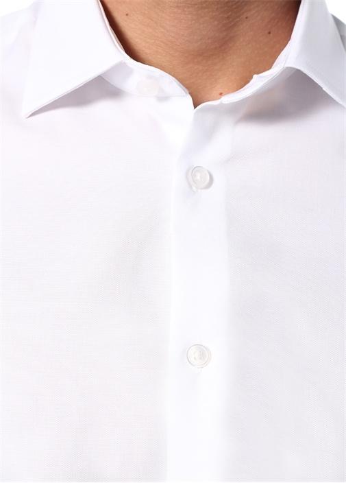 Slim Fit Beyaz Non Iron Klasik Oxford Gömlek