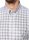 Slim Fit Gri Yakası Düğmeli Ekose Gömlek