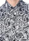 Slim Fit Siyah İngiliz Yaka Etnik Desenli Gömlek