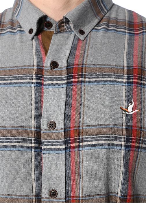 Comfort Fit Gri Düğmeli Yaka Ekoseli Gömlek