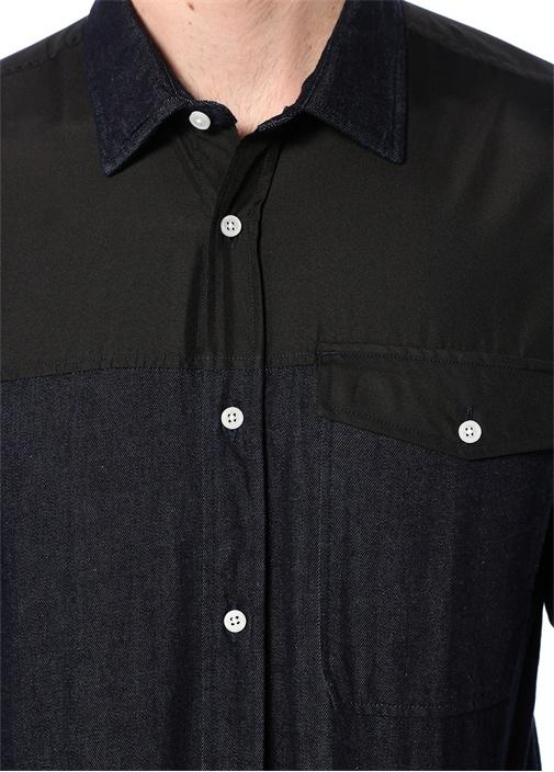 Slim Fit Lacivert Polo Yaka Garnili Gömlek