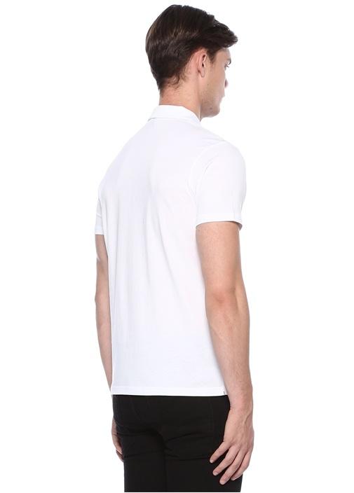 Beyaz Polo Yaka Fermuarlı Logolu T-shirt