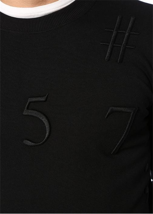 Siyah Bisiklet Yaka Nakışlı Sweatshirt