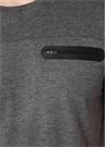 Gri Melanj Bisiklet Yaka Fermuarlı Basic T-shirt