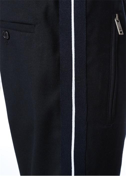 Lacivert Yanları Şerit Detaylı Spor Pantolon